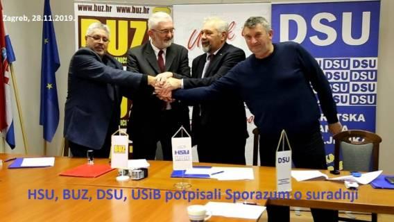 Zagreb, 28.11.2019. HSU, BUZ, DSU i USIB potpisali sporazum o suradnji